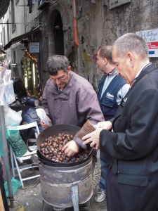 Chestnuts roasting on an open fire in Napoli